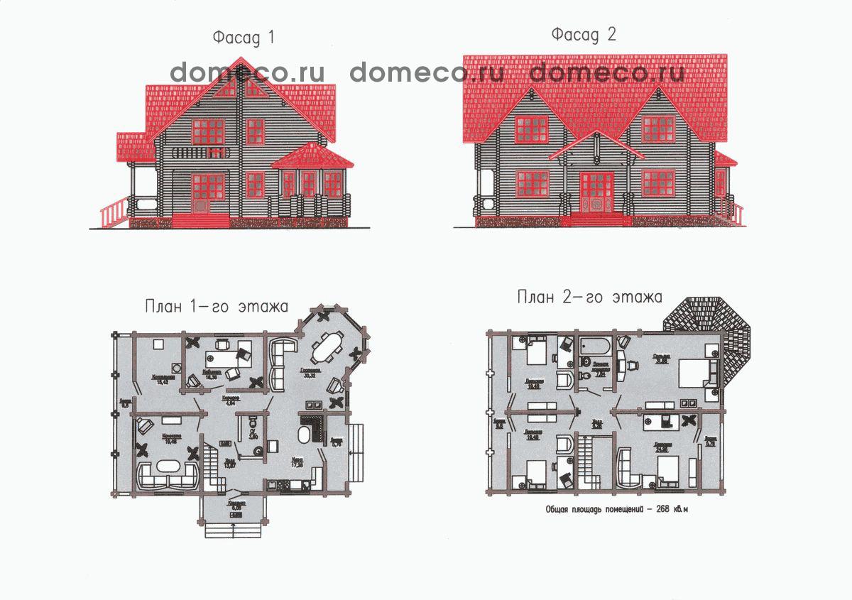 план коттеджа с размерами и фасадом приобретут