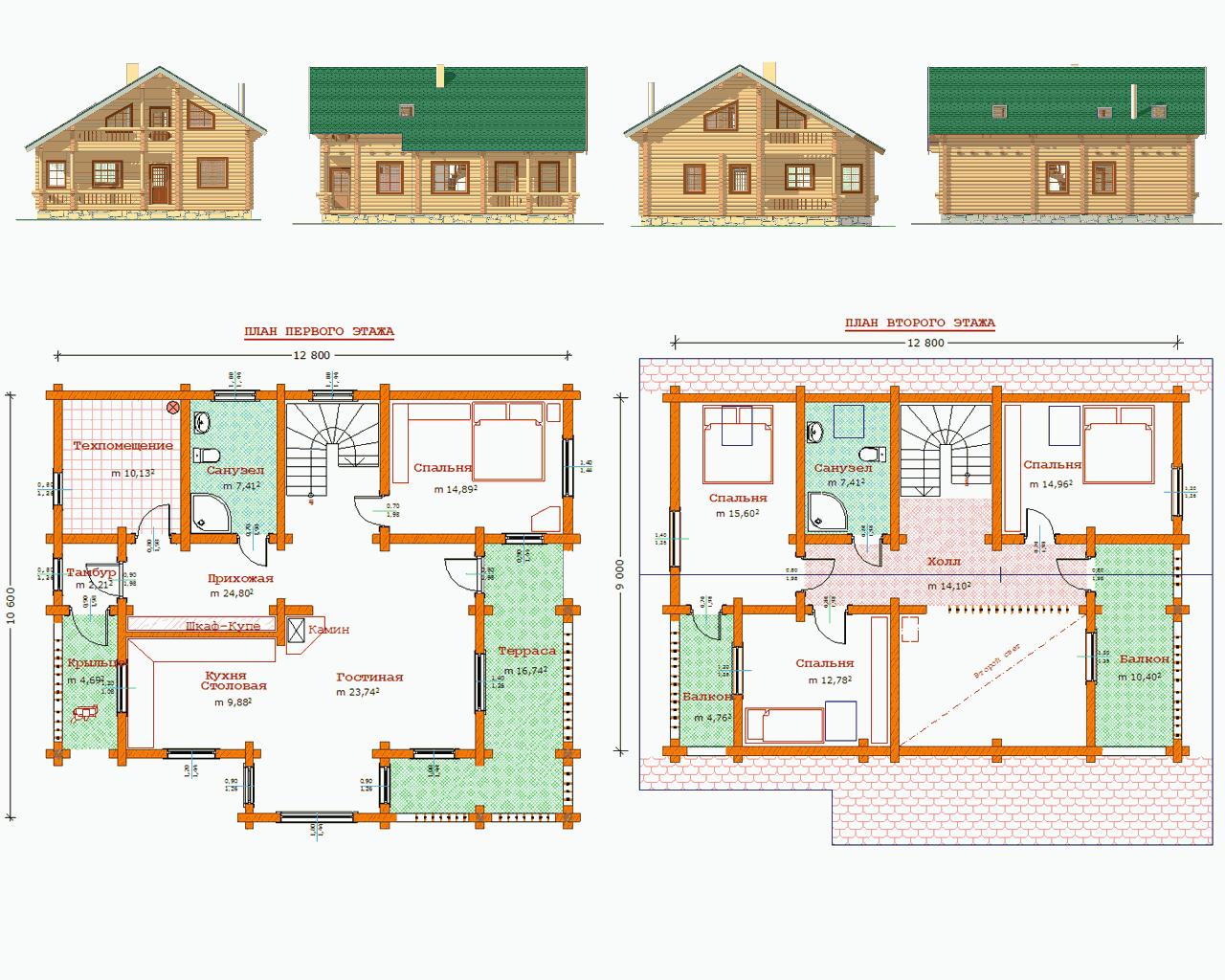 Схема на 2 этажный дом частный