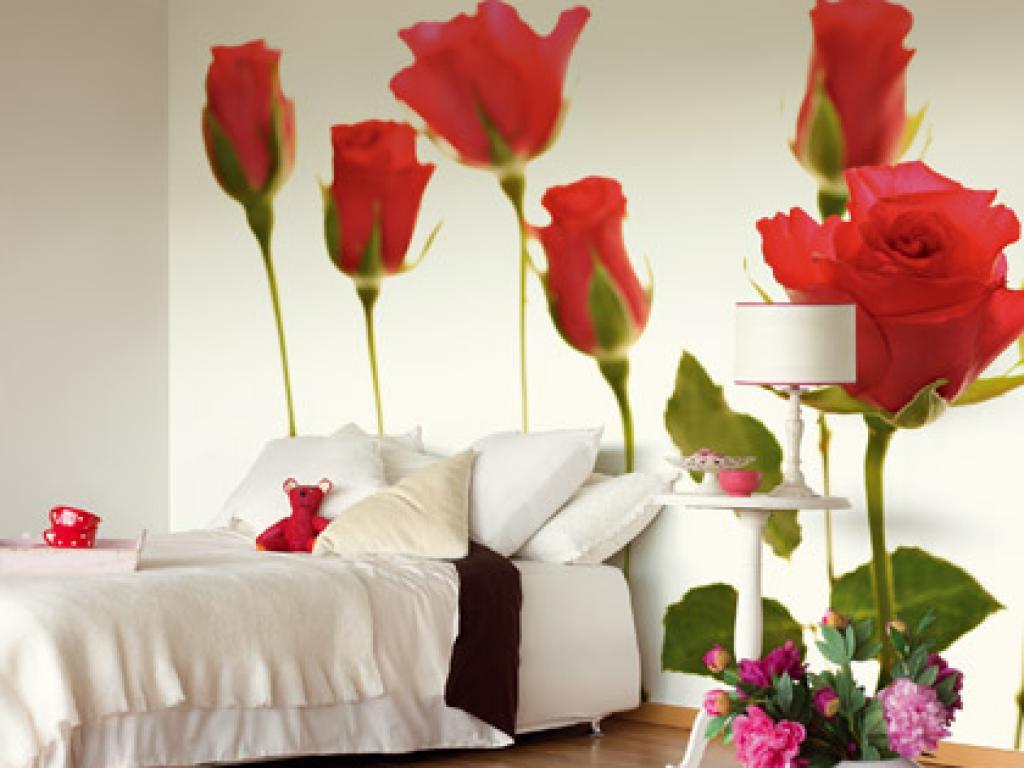 Роза фотообои в интерьере фото в