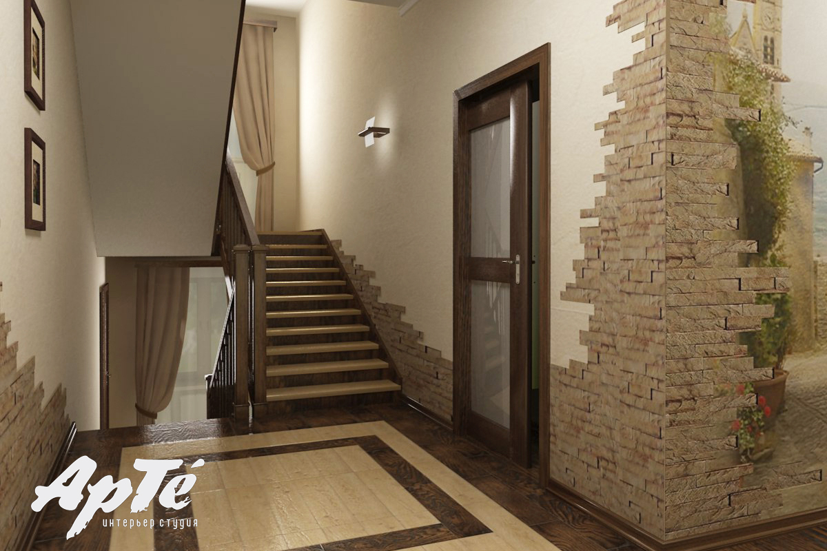Дизайны коридоров с лестницей