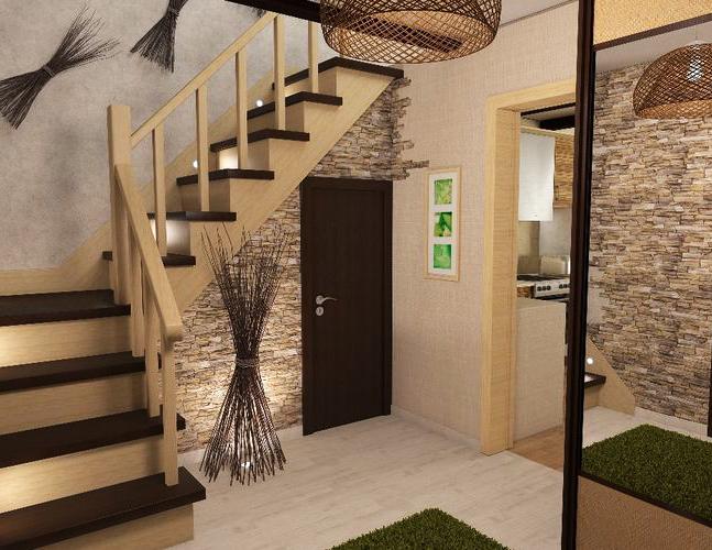 Фото дизайна коридора с лестницей