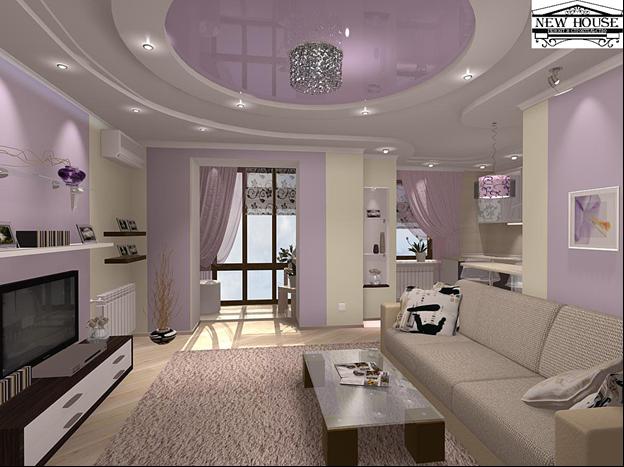 Потолки дизайн в однокомнатной квартире