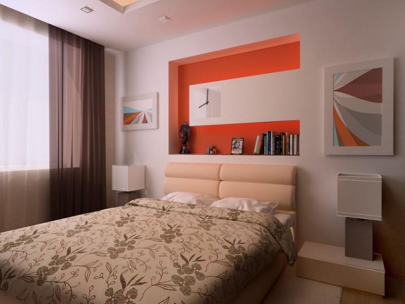 Дизайн спальни с бежевой кроватью 18 кв.м