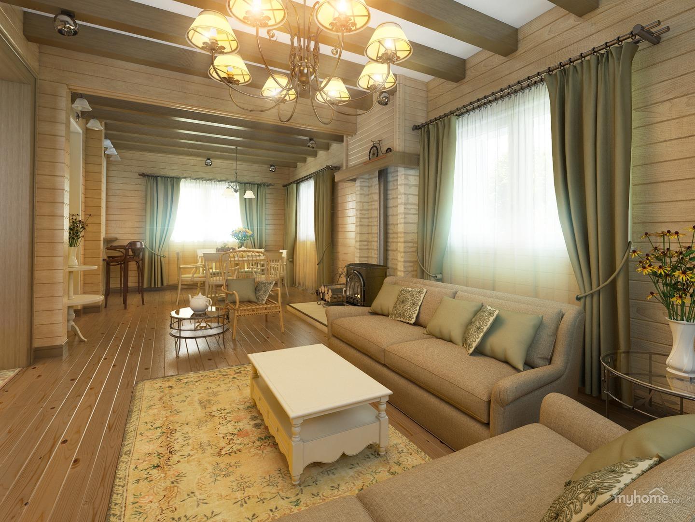 Кухня гостиная в деревянном доме дизайн