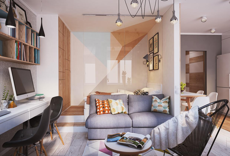Дизайн однокомнатной квартиры 40 кв м с