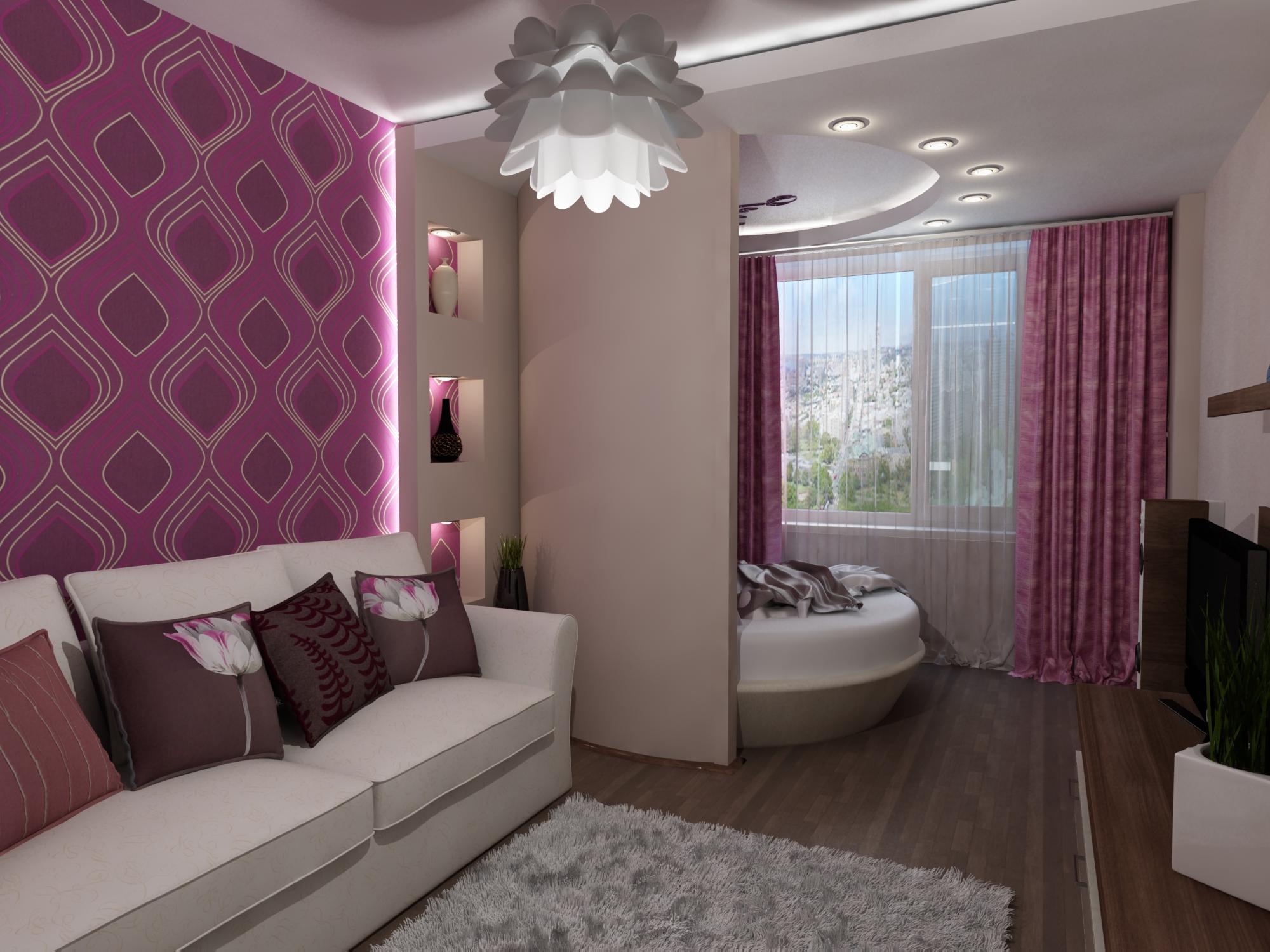 Дизайн гостиной-спальни - 80 фото вариантов совмещения интер.