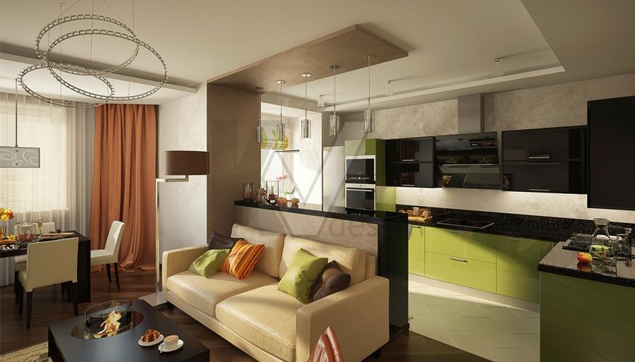 Дизайн кухни-гостиной 18 кв.м в квартире