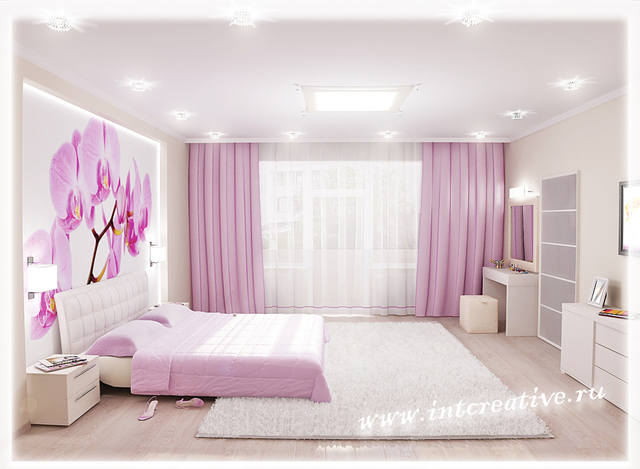 Интерьер спальни с орхидеями фото