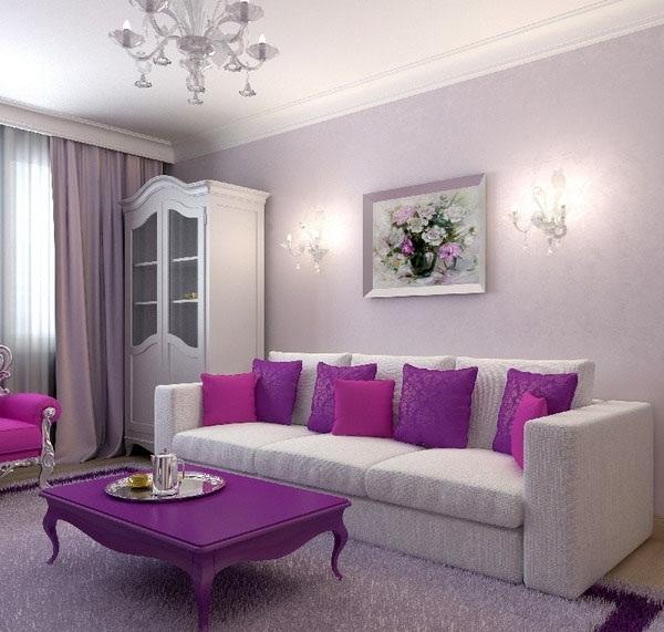 Интерьер зала в лиловом