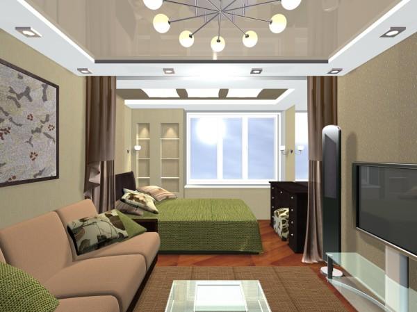 Проекты дизайнов спальни-гостиной
