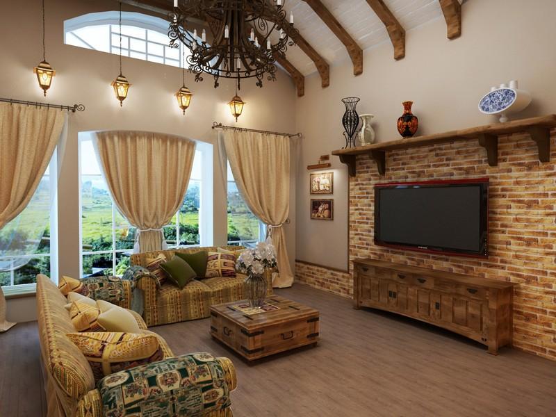 Дизайн зала с одним окном в частном доме