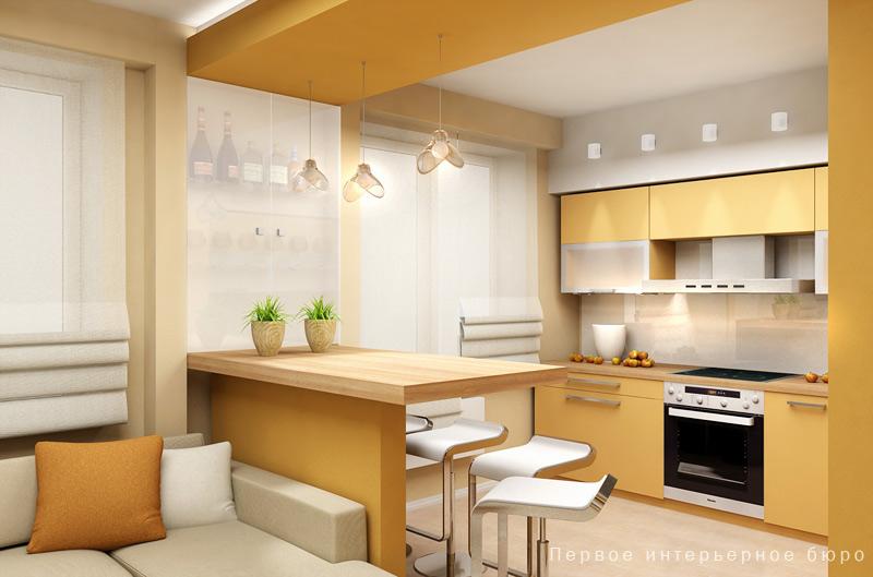 Совмещение кухни и лоджии в ленпроекте.
