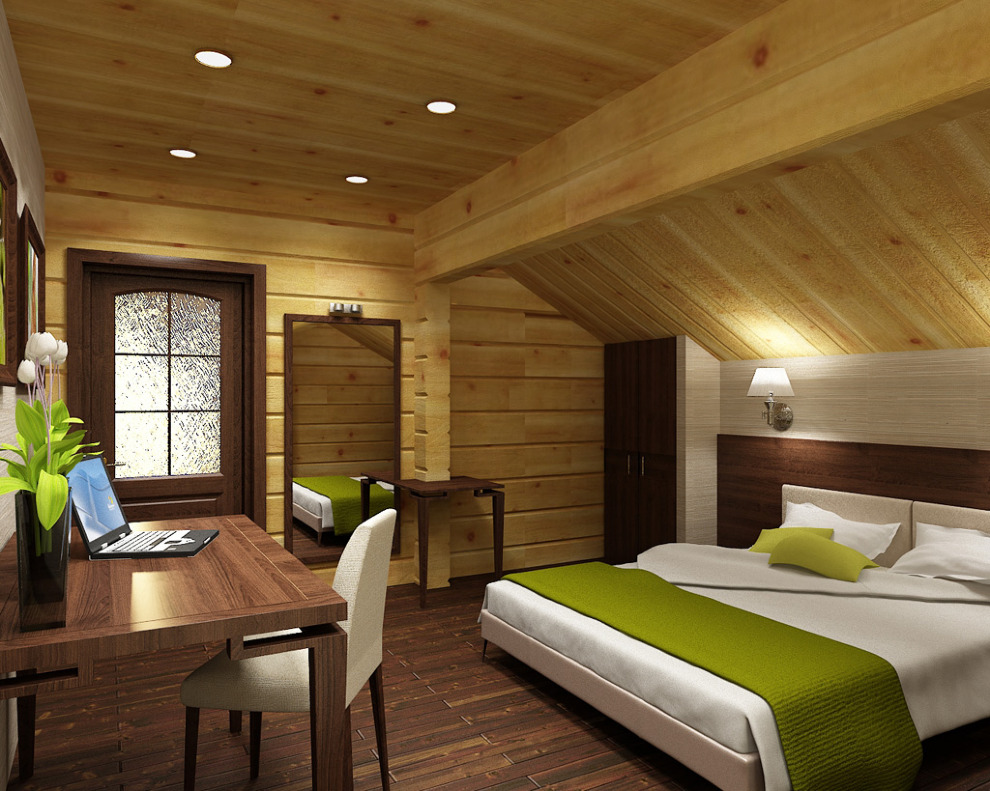 Дизайн мансарды фото деревянный дом