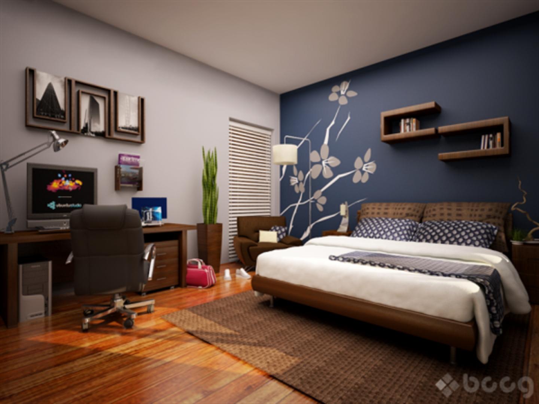 Стена в интерьере спальни