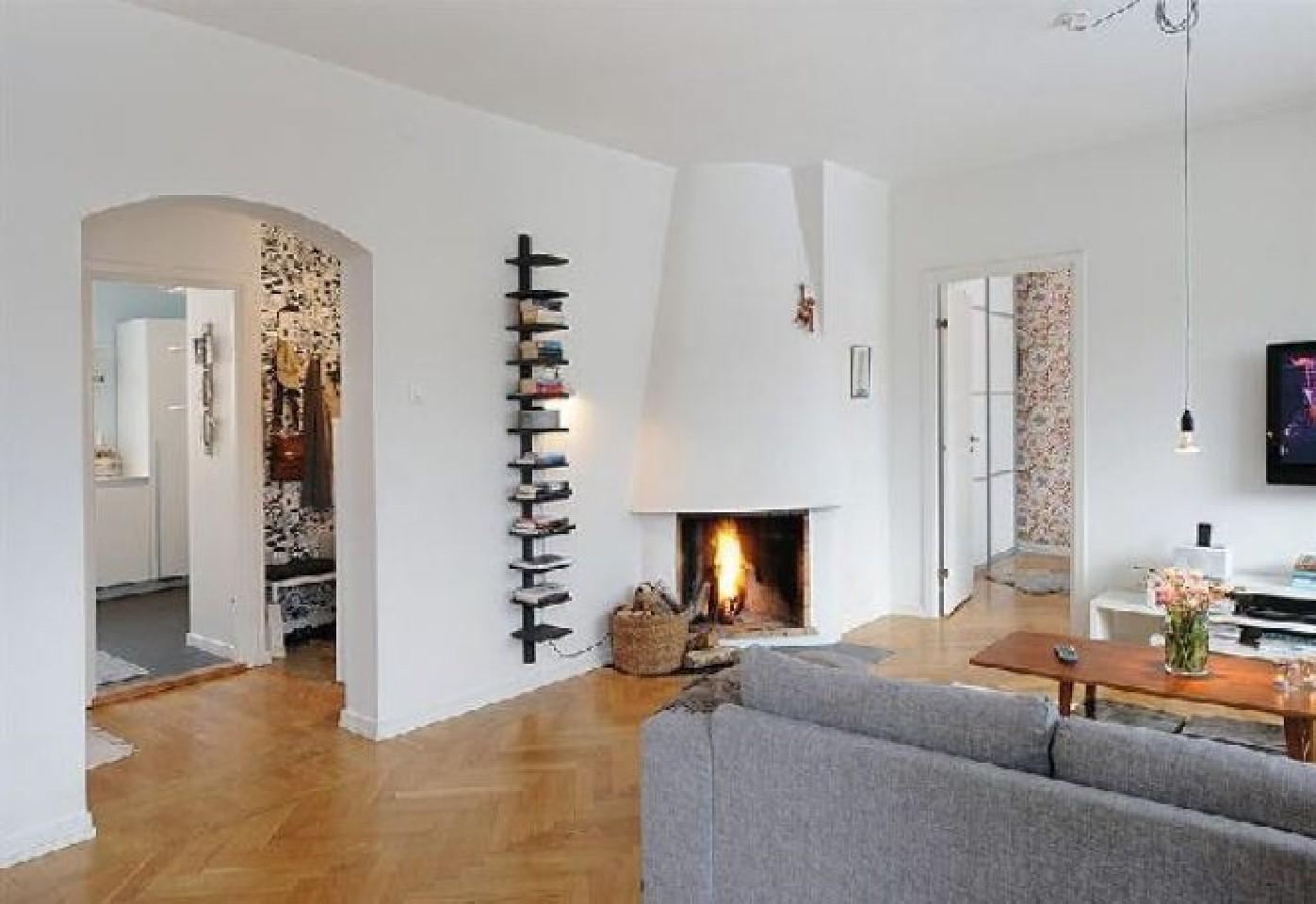 Дизайн гостиной с фото с угловым камином