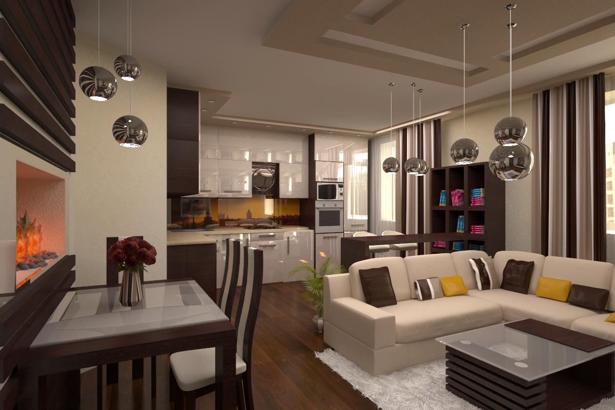 Интерьер и дизайн кухни и гостиной