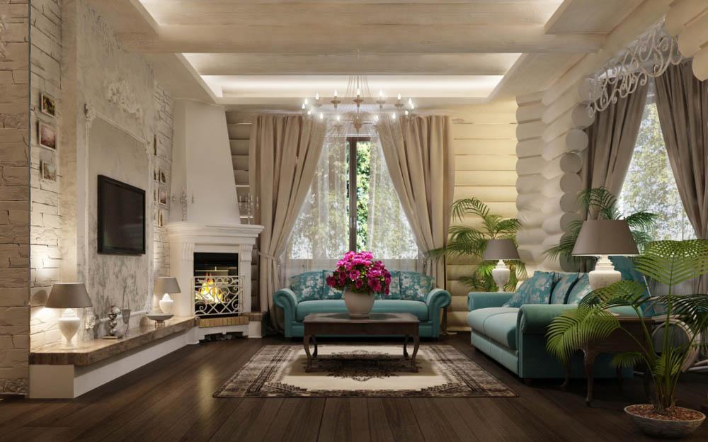 Дизайн интерьера бревенчатого дома