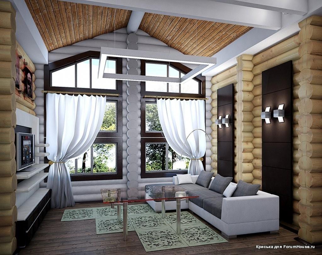 Фото дизайн домов из бревна интерьер