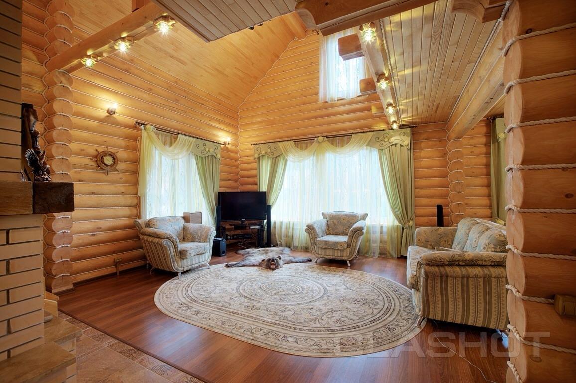 дома из оцилиндрованного бревна внутренний дизайн