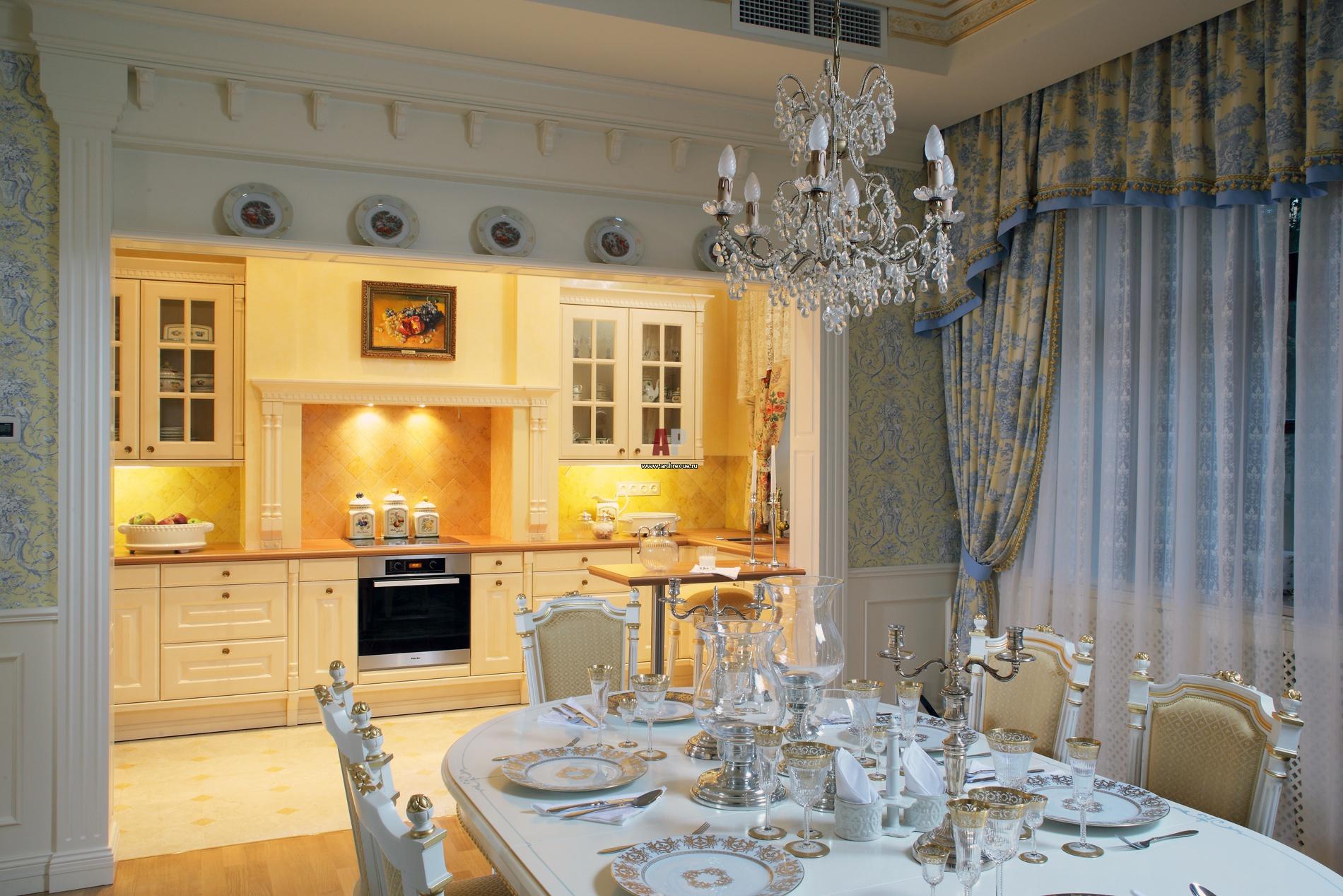 Дизайн столовой и кухни фото классика