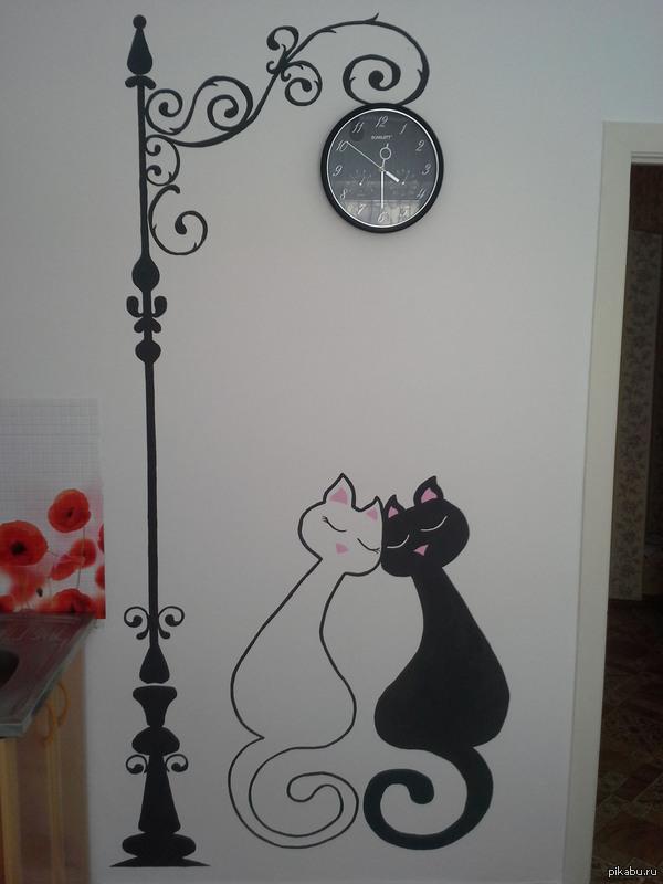 Рисунки на стене в прихожей своими руками фото