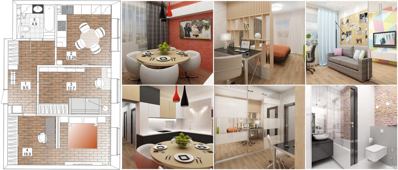 Полного дизайн проекта двухкомнатной квартиры