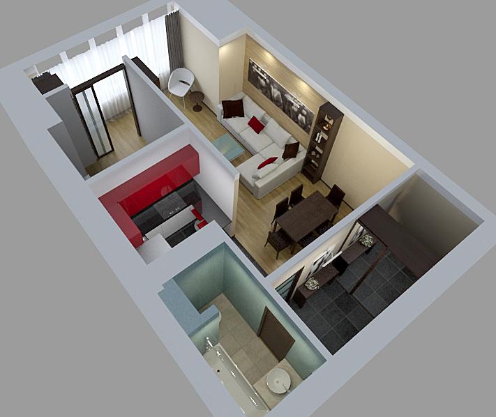Однокомнатная квартира 45 кв м дизайн