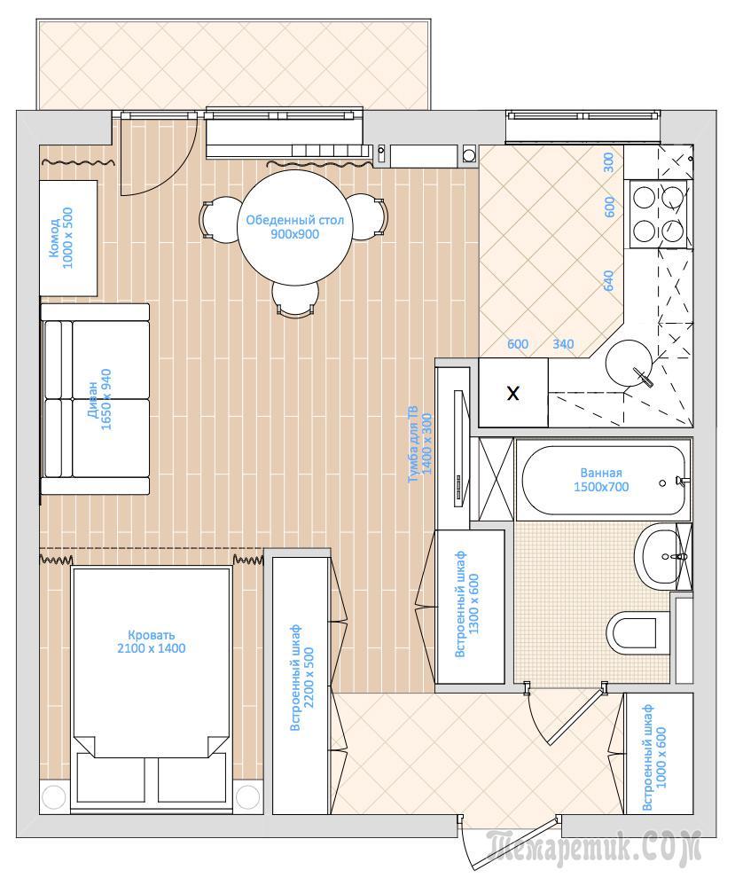 Однокомнатная квартира дизайн 33 кв м