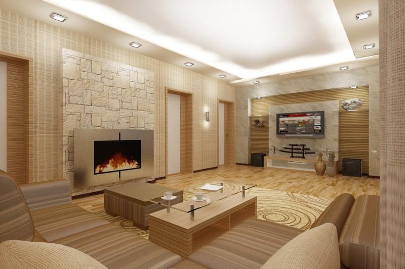 Современный дизайн зала с камином в кремовых тонах 2017 год