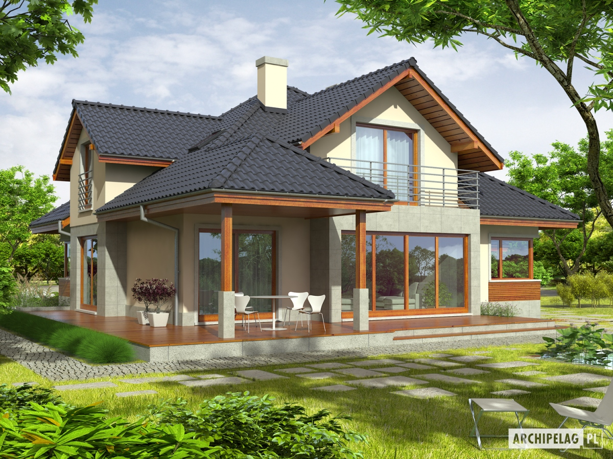 """Проект загородного дома с террасой """" современный дизайн."""