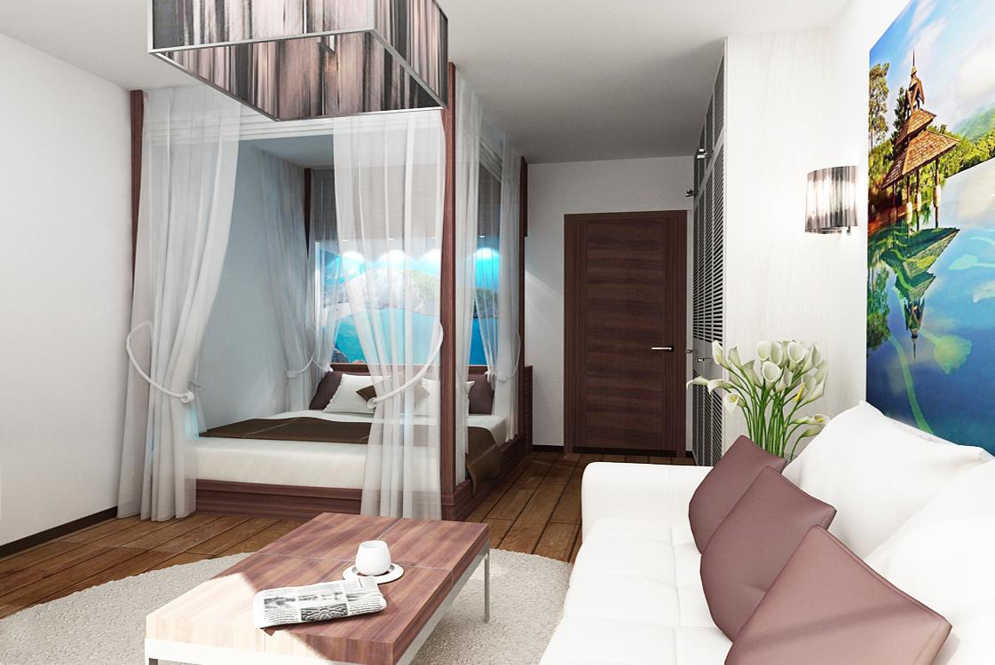 """Примеры дизайна 1-комнатной квартиры """" современный дизайн."""