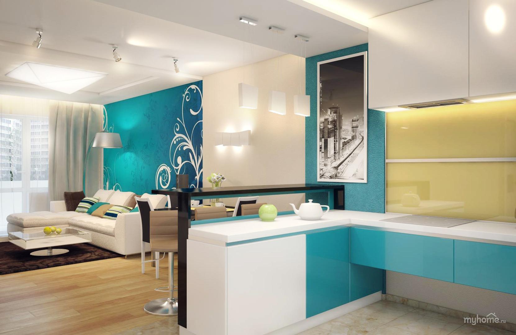 Дизайнерский интерьер кухни в бирюзовых тонах