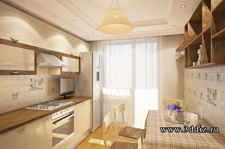 Интерьер кухни в панельном доме для трехкомнатной квартиры ф.