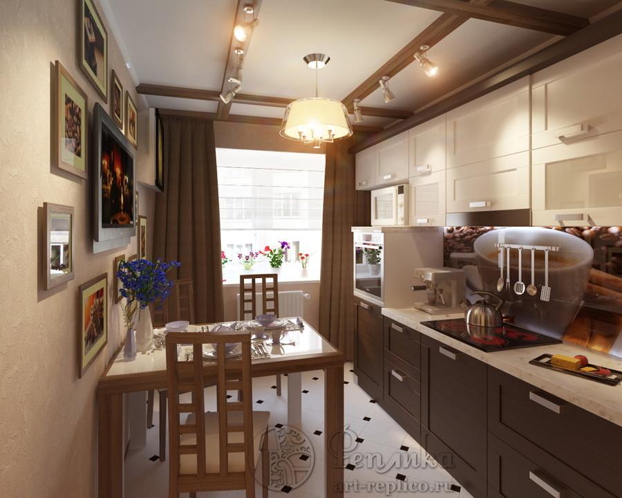 Фото дизайна кухни в домах 121 серии.