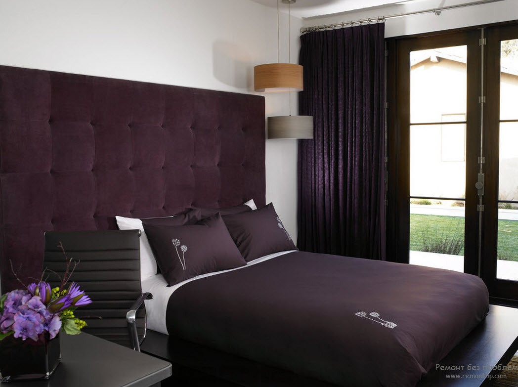 Сиреневая фиолетовая спальня дизайн