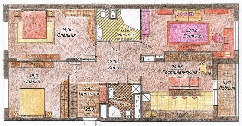 Планировка 3 комнатной квартиры схема