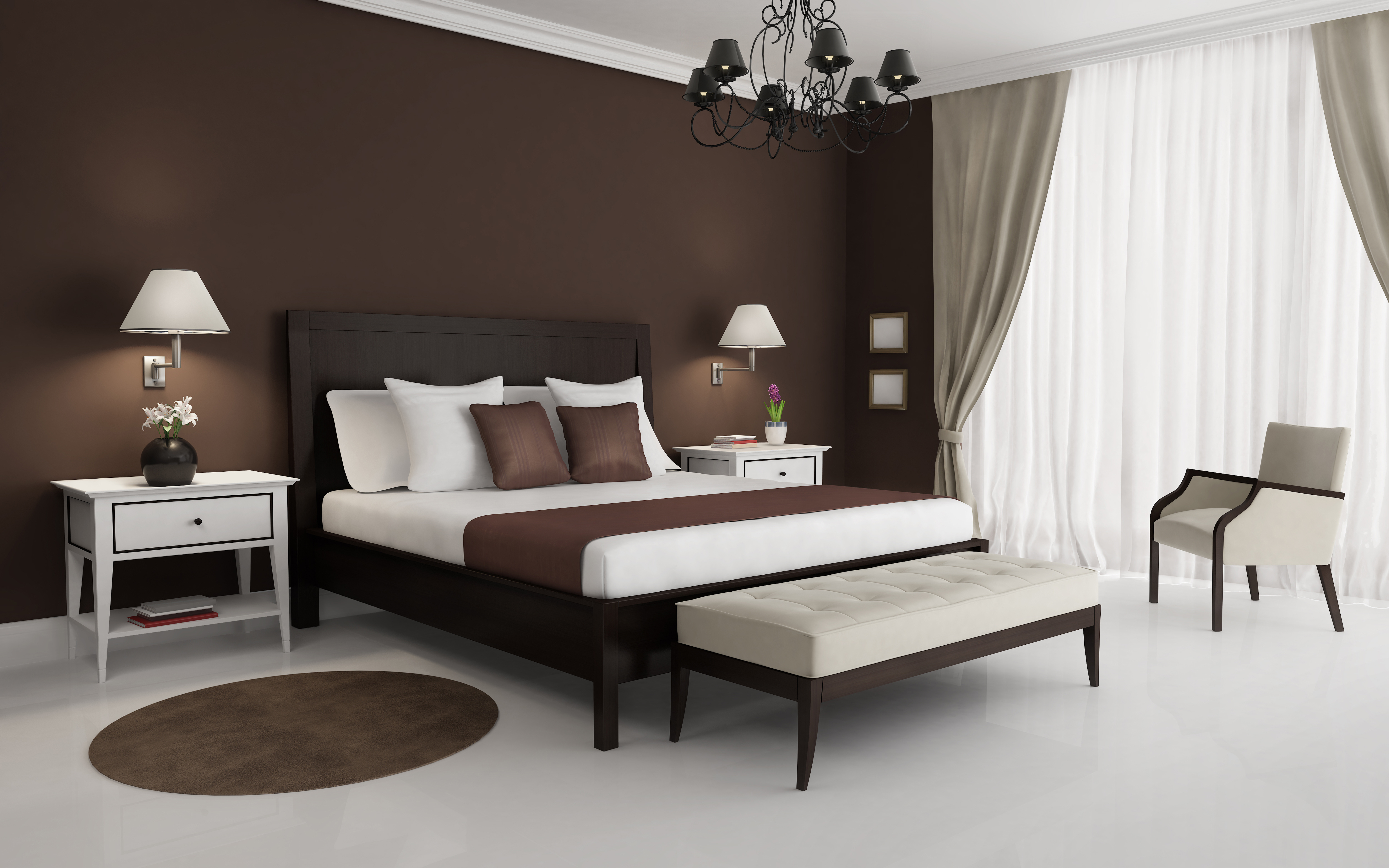Brown and grey bedroom