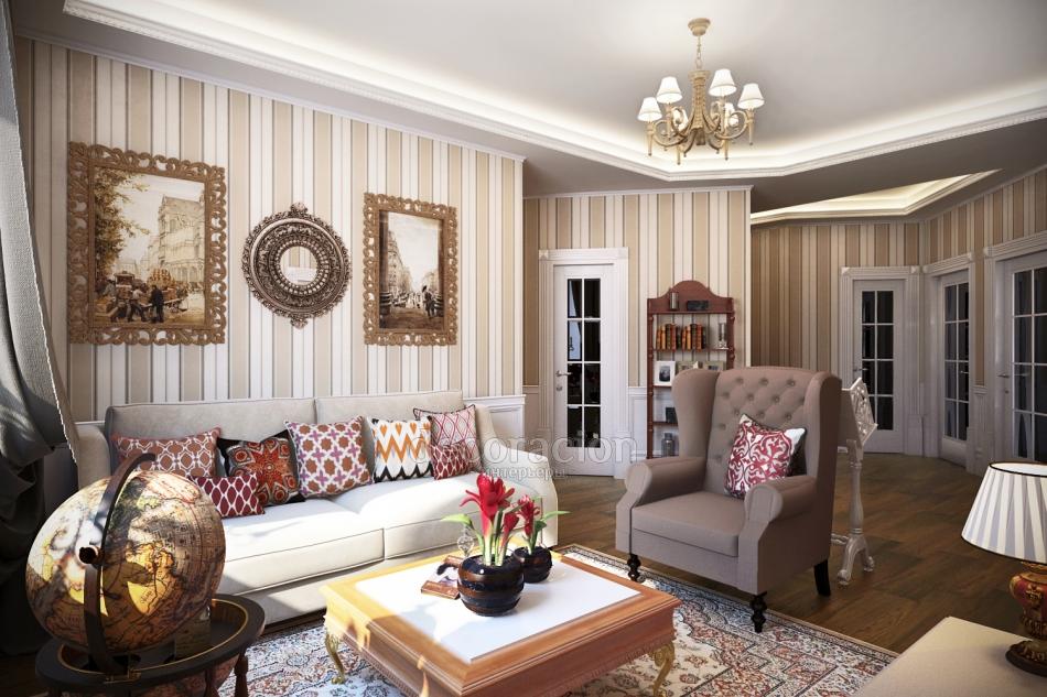Интерьер гостиной в английском классическом стиле фото