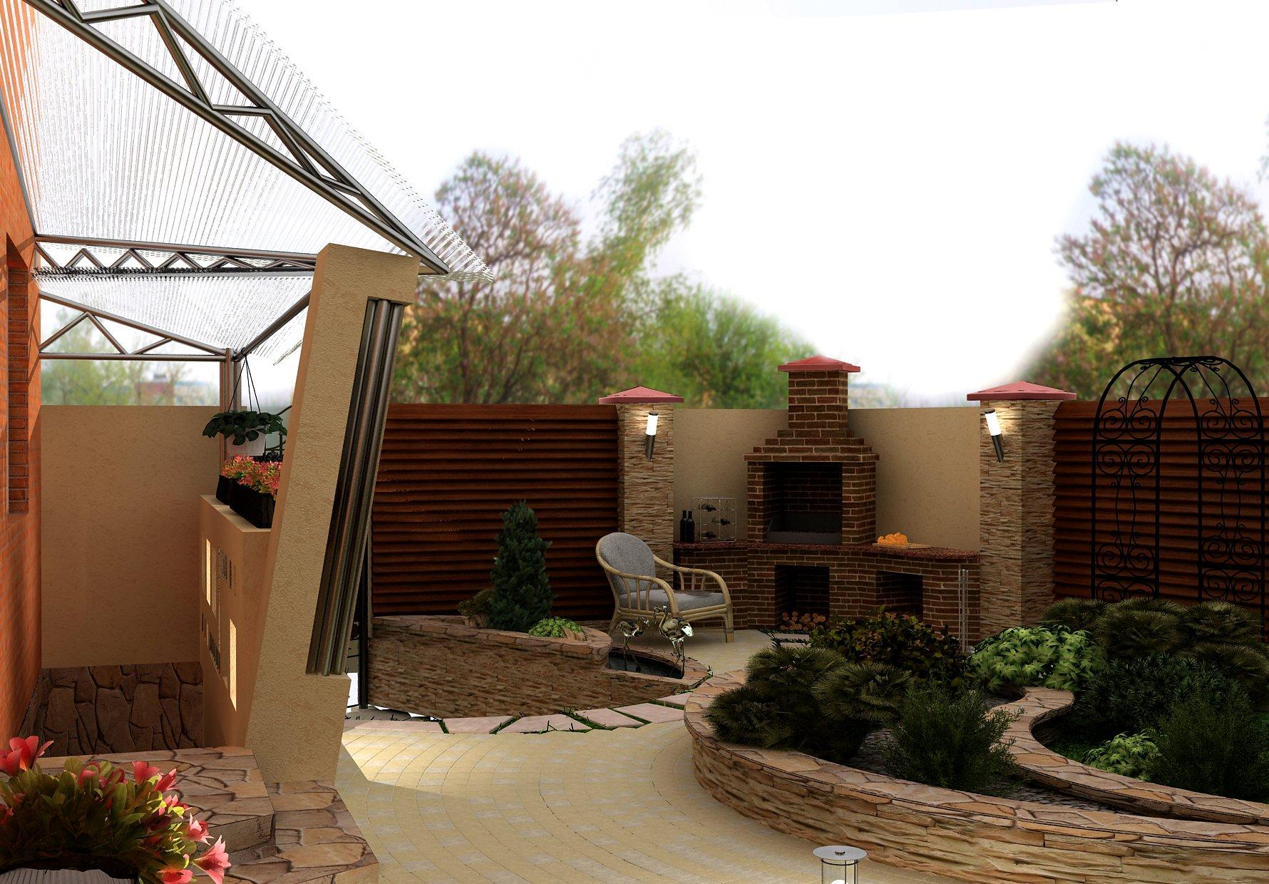 Дизайн двора частного дома фото современных дворов с фото