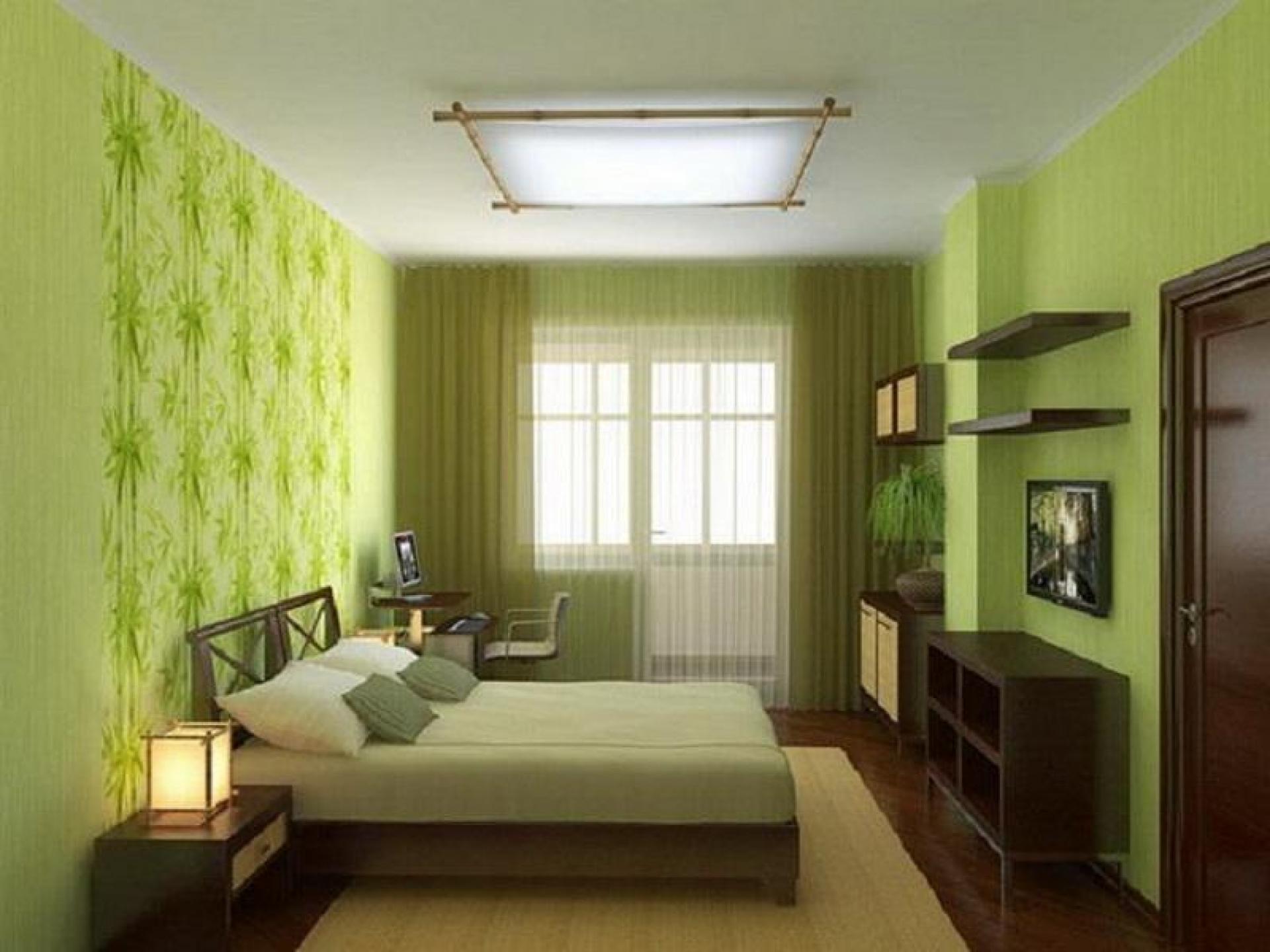 Интерьеры спальни с зелеными обоями фото