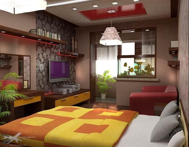Комната с балконом и окном дизайн