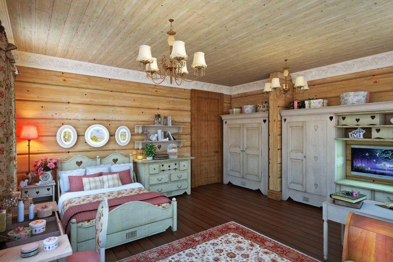 Интерьер деревянного дома прованс