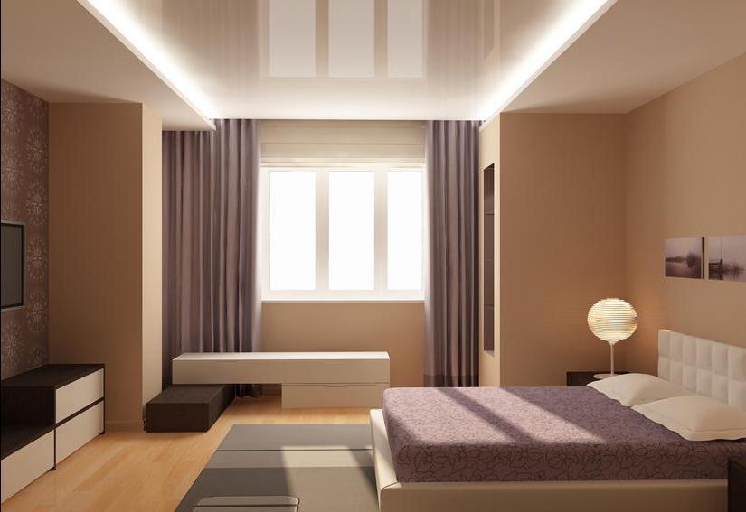 Дизайн потолков маленькой спальни фото