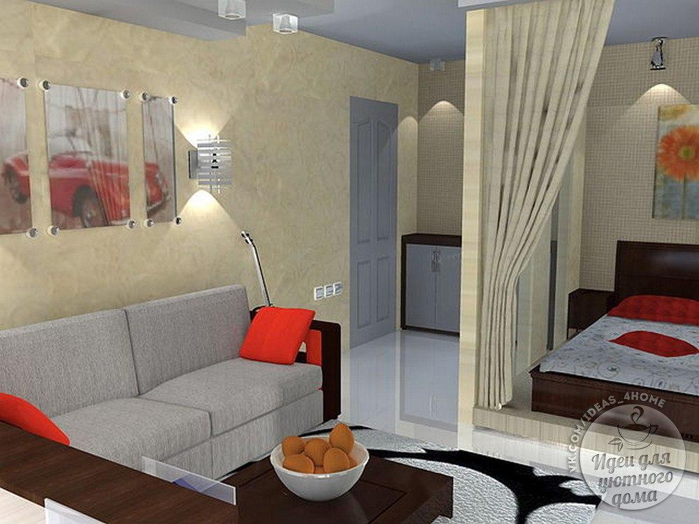 Дизайн малогабаритной однокомнатной квартиры искусство интер.
