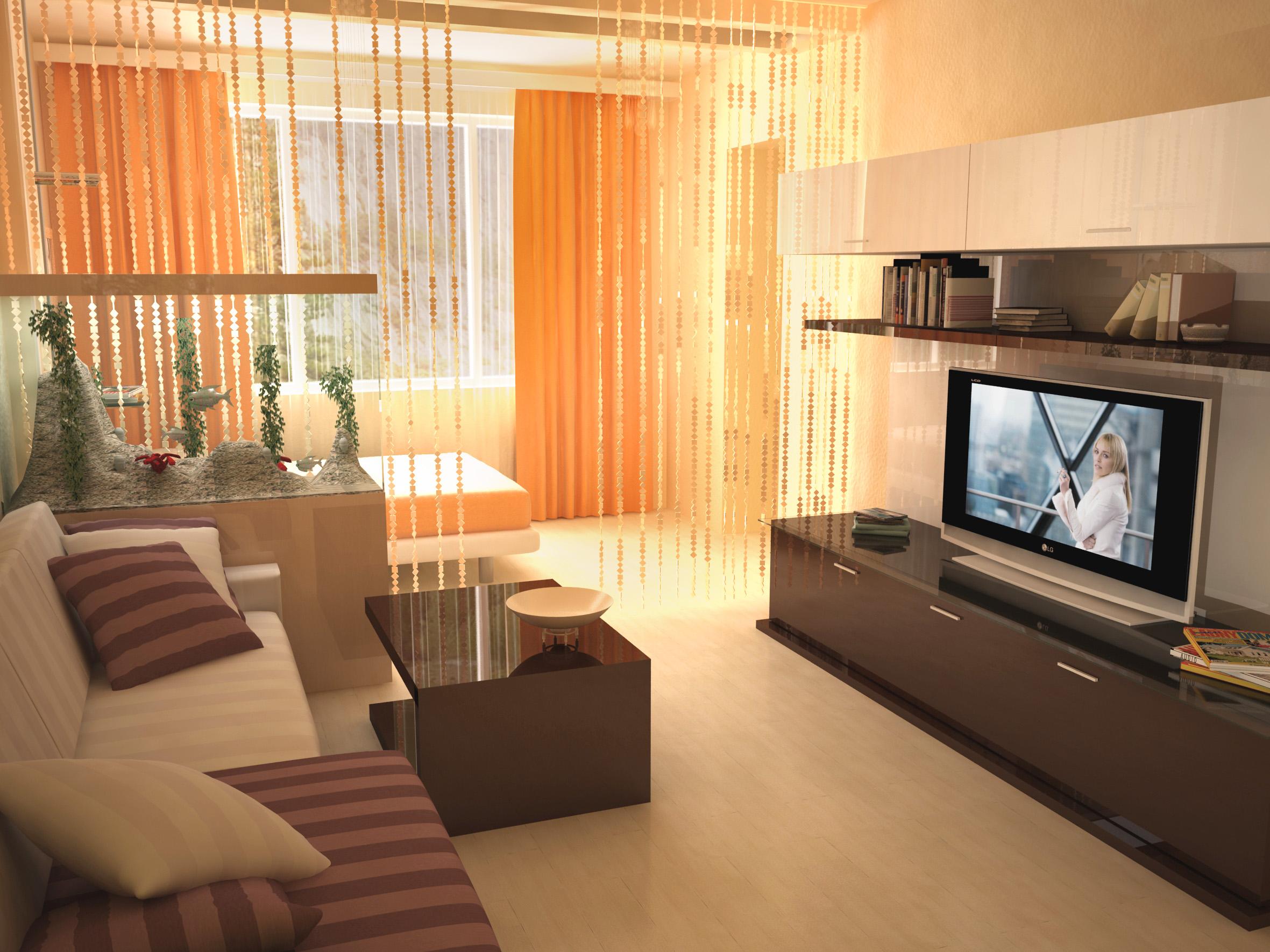 Интерьер в однокомнатной квартире с двумя окнами.