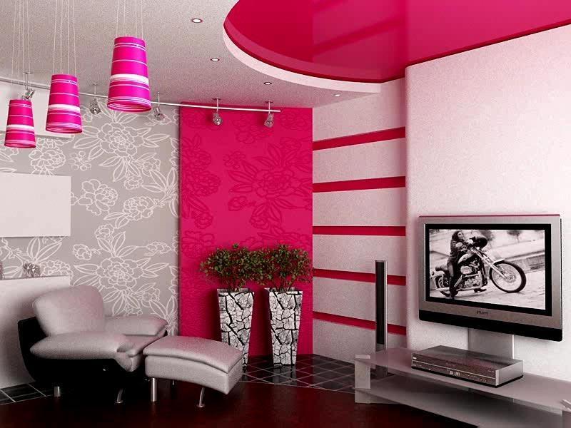 Серо розовые обои в интерьере фото