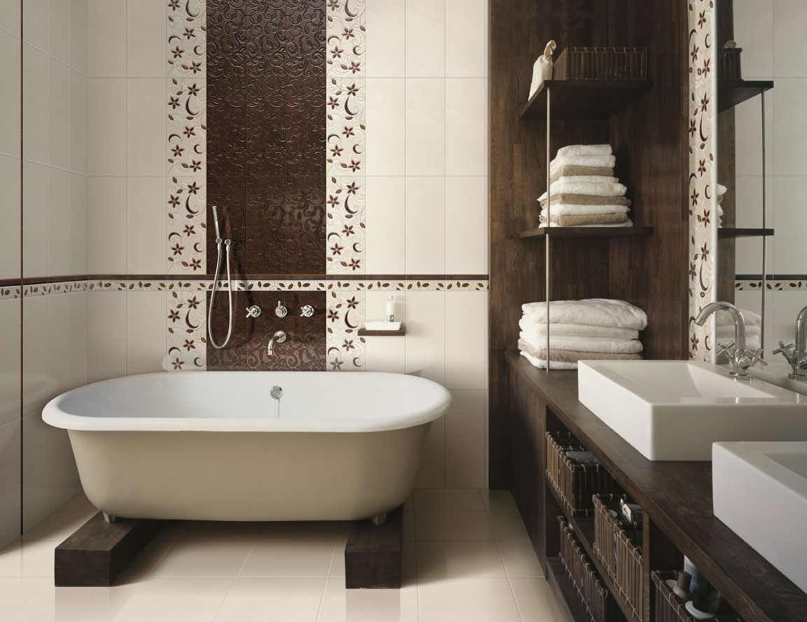 Дизайн кафельной плитки в маленькой ванной комнате